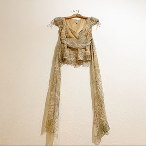DVF Cream Colored Silk Belted V Neck Blouse SZ 6